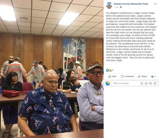 The Nueces County Democratic Party made a Facebook post on Nov. 12, 2019, expressing condolences for the death of former Justice of the Peace Lorenzo Rojas.