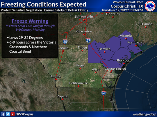 Freeze Warning issued on Nov. 12 for parts of the Coastal Bend