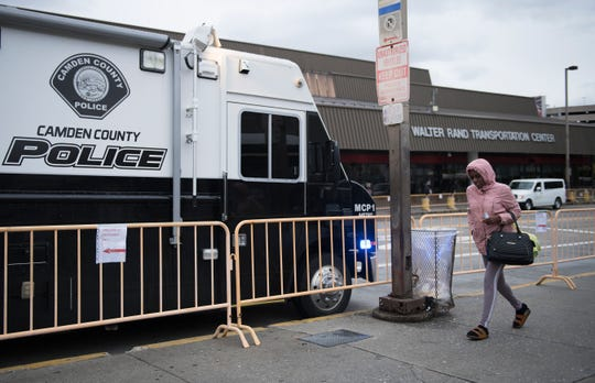 A Camden County Police mobile command vehicle is parked at the Walter Rand Transportation Center in Camden on Tuesday, November 12, 2019.  The Camden County Police Metro Division began working with NJ Transit Police and DRPA to clear the area of undesirable activities.