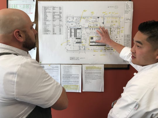 James Liuzza, left, and Joe Muldoon look over plans for Haddon Culinary, the chefs' new business in Collingswood.
