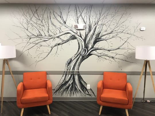 This mural was painted on the wall of Victory Bay Recovery Center in Laurel Springs by Medford artist Heather Henry, who began painting and drawing three years ago. Art has come to her naturally after a family trauma.
