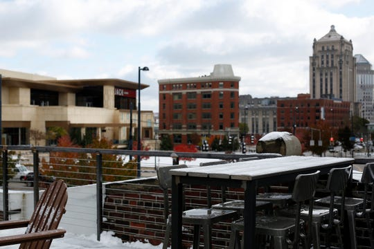 A view of the rooftop bar at the new BrewDog Brewery location in the Pendleton neighborhood of Cincinnati on Tuesday, Nov. 12, 2019. The new BrewDog location features two levels, plus a rooftop bar, space with room for games, education, dining and events.