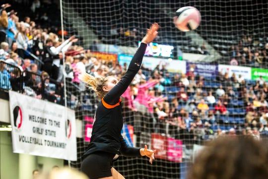Valley's Hayden Kubik serves during a Class 5A high school volleyball state tournament quarterfinal match, Tuesday, Nov., 12, 2019, at the U.S. Cellular Center in Cedar Rapids, Iowa.