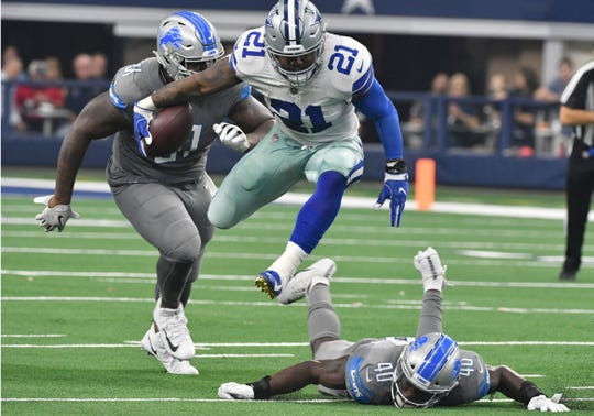 Running back Ezekiel Elliott and the Cowboys take on the Lions on Sunday at Ford Field.