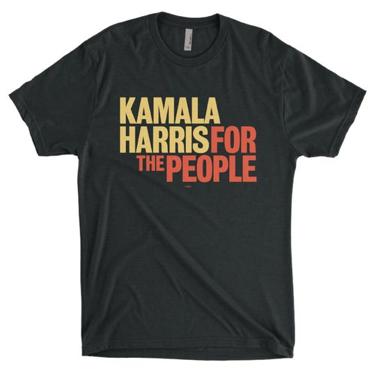The Harris campaign merchandise stands out color-wise. (Kamala Harris for the People/TNS)