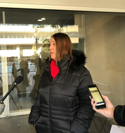 Beth DeShone of the Great Lakes Education Project speaks ahead of a meeting of the Michigan Board of Education on Tuesday, Nov. 12, 2019, in Lansing, where she delivered a 2,800-page report grading Michigan schools on a new A-F scale.