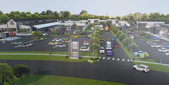 This is a conceptual rendering of the Cannabis park, including a grocery store and future shopping center in Pontiac proposed by Rubicon Capital and Pharmaco Inc.