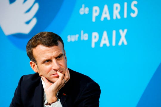 French President Emmanuel Macron attends the Paris Peace Forum last month in Paris.