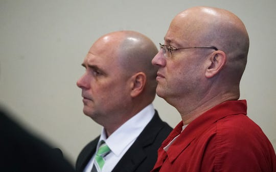 Mark Sievers appears before Judge Bruce Kyle alongside his defense attorney Michael Mummert Tuesday morning November 12, 2019. Sievers stands accused with two other men in the brutal killing of his wife, Teresa Sievers, is scheduled to begin Tuesday at 8:30 a.m. in Fort Myers. 