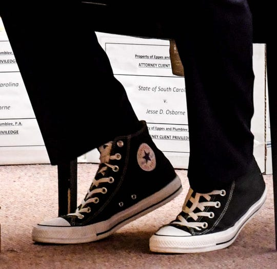 Jesse Osborne wears high-top Converse tennis sneakers as he begins a sentence-related hearing at the Anderson County Courthouse Tuesday, November 12, 2019. Osborne, the teenager who pleaded guilty last year to opening fire on the Townville Elementary School playground in 2016, killing a first-grader and wounding other students and a teacher. Now 17, he faces a minimum of 30 years in prison and could spend the rest of his life behind bars.