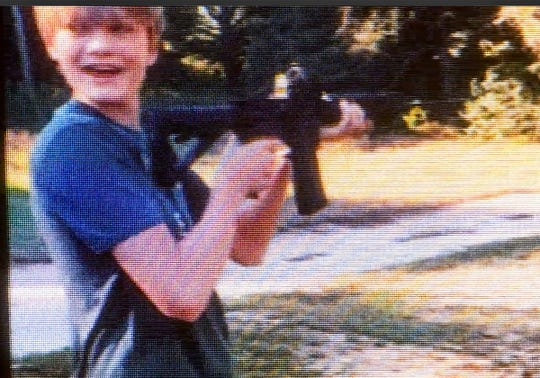Jesse Osborne seen with a rifle in a video clip presented as evidence during the first day of a sentence-related hearing at the Anderson County Courthouse Tuesday, November 12, 2019. Osborne, the teenager who pleaded guilty last year to opening fire on the Townville Elementary School playground in 2016, killing a first-grader and wounding other students and a teacher. Now 17, he faces a minimum of 30 years in prison and could spend the rest of his life behind bars.