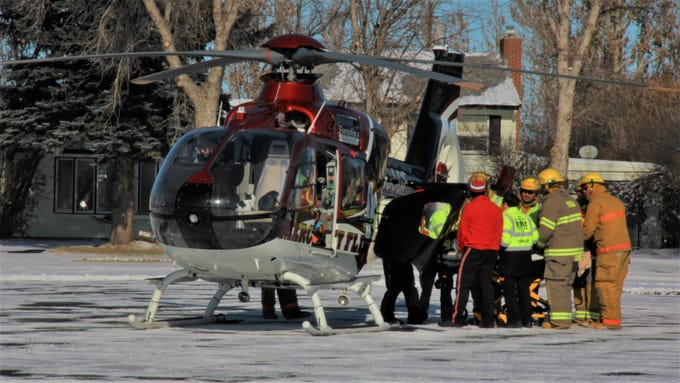 A student involved in the Conrad Ghost Out mock crash is loaded into the Benefis Mercy Flight helicopter Tuesday, Oct. 29, 2019.