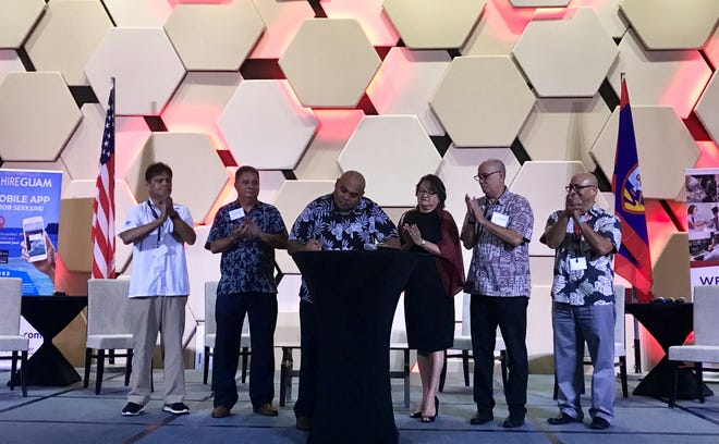 Lt. Gov. Joshua Tenorio signs a proclamation declaring Nov. 11 through Nov. 17 national apprenticeship week. The proclamation signing occurred at the Registered Apprenticeship Forum at the Dusit Thani Guam Resort on Tuesday, Nov. 12.
