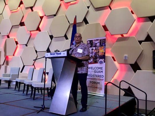 David Dell'Isola, director of the Guam Department of Labor, speaks at the Registered Apprenticeship Industry Forum on Tuesday, Nov. 12 at the Dusit Thani Guam Resort.