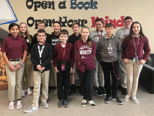 North Middle School Students of the Month for October are, in front: Maria Vazquez Andrade, Brayden Bradley, Caleb Bender, Leah Yeary, Evan Sturgill, Hallie Jenkins. In back: Madison Spinks, Evan Farley, Ava Eblen, Ethan Alexander, Zoe Richmond, Elijah Little.