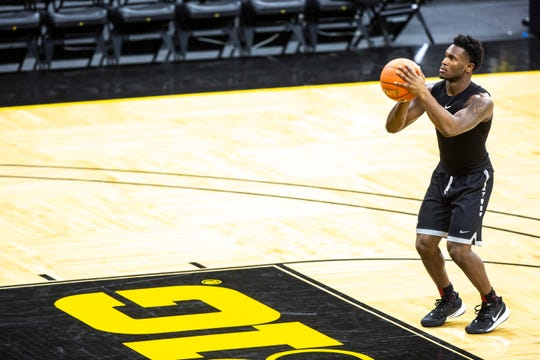 Iowa point guard Joe Toussaint returned to the court at Carver-Hawkeye Arena after Monday's loss to DePaul to work on his shooting. The freshman scored 13 points in a humbling 93-78 loss. Coach Fran McCaffery plans to play him more going forward.