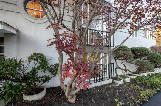 A Japanese maple outside this ship-inspired Art Deco home called Windsweep is listed for $575,000 and is located in the gated Brendonwood neighborhood of Indianapolis, near I-465 and East 56th Street, Friday, Nov. 8, 2019.
