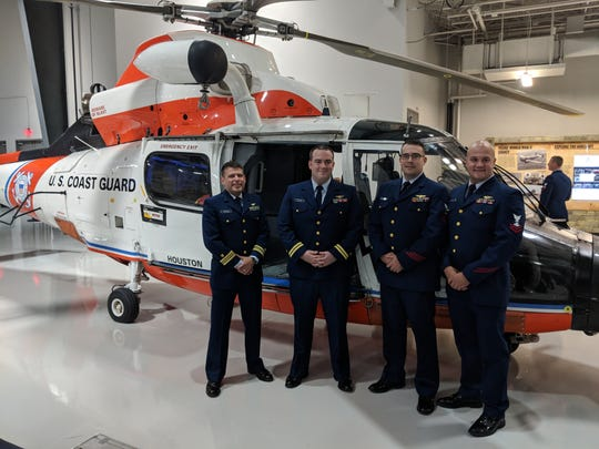 Lt. Cmdr. Jason Carrillo, left, Lt. Brian Muldoon, AMT1 Travis Hebrank and AST2 Vince Neiman made up a U.S. Coast Guard crew that went into an Aug. 26, 2017, storm for search and rescue operations in southeast Texas during Hurricane Harvey.
