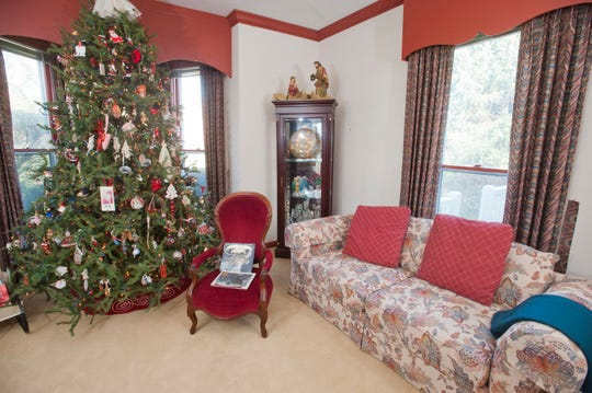 The Christmas tree room of Craig and Susan Kidwell's Crestwood farmhouse home.