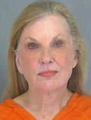 Laura Snyder Jones of Anchorage, Kentucky, is charged with a first-offense bomb threat after her arrest Saturday, Nov. 9, 2019, at Greenville-Spartanburg International Airport in South Carolina.