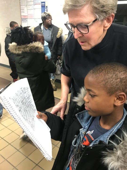 Dr. Jane Turner looks over a statement written by Jaron Trice, 8, Monday, Nov. 11, 2019., who told the Charlotte Board of Education he's been bullied.