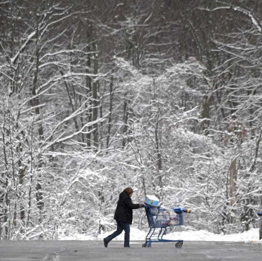 Overnight snow decorated the trees Tuesday morning outside Meijers parking lot as shoppers filled their carts.
