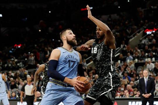 Memphis Grizzlies center Jonas Valanciunas (17) drives around San Antonio Spurs forward LaMarcus Aldridge (12) during the first half of an NBA basketball game, in San Antonio, Monday, Nov. 11, 2019.