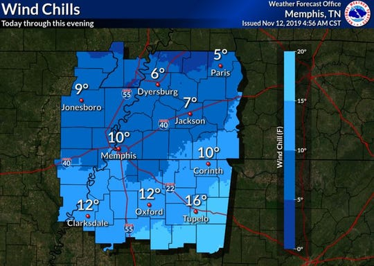 Forecasted wind chills Tuesday will dip into single digits for most of the northern counties.