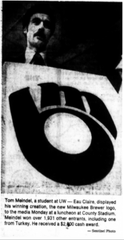 The picture appeared in November of 1977 in the Milwaukee Sentinel after Tom Meindel won the Brewers design contest for a new logo.