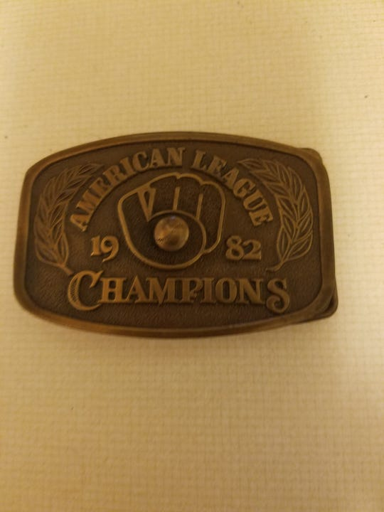 Meindel was given permission to sell belt buckles with his logo during the 1982 run to the World Series.
