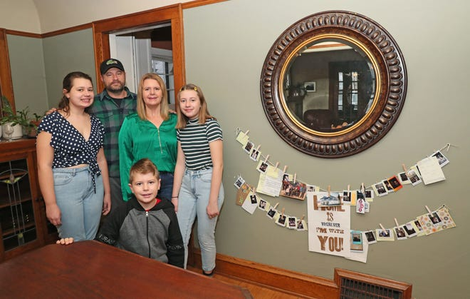 The Heffner family has made lasting connections with Airbnb guests who have rented the lower unit of their Wauwatosa duplex over the last three years. Pictured from left are 15-year-old Sophia Heffner, Mike Heffner, Deborah Heffner, 13-year-old Abigail Heffner and 11-year-old Henry Heffner.