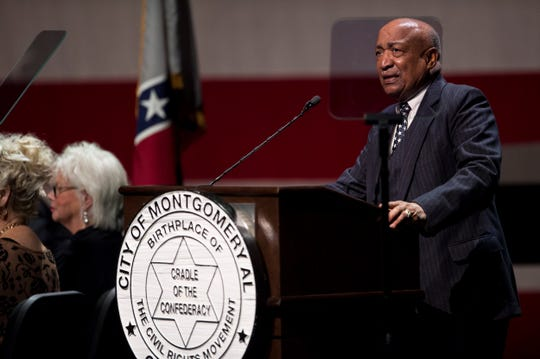 Joe Reed speaks during Inauguration at the Montgomery Performing Arts Center in Montgomery, Ala., on Tuesday, Nov. 12, 2019.