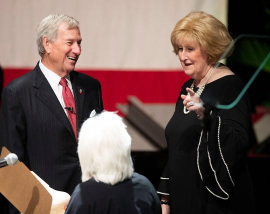 Outgoing Mayor Todd Strange and City Clerk Brenda Blalock during the Mayor's Inauguration and city council organizational meeting at the Montgomery Performing Arts Center in Montgomery, Ala., on Tuesday November 12, 2019.