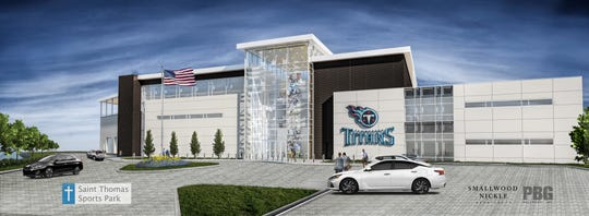 This rendering shows a planned 60,000-square-foot expansion at Saint Thomas Sports Park.