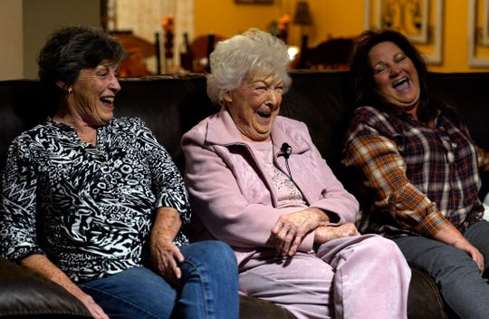 Junita Edwards, known as Mama Greene, sits between her daughter Katherine Davis and her granddaughter Mia Green on Monday, October 28, 2019, in White House, Tenn. Edwards, 92, has 22 great-great grandchildren.