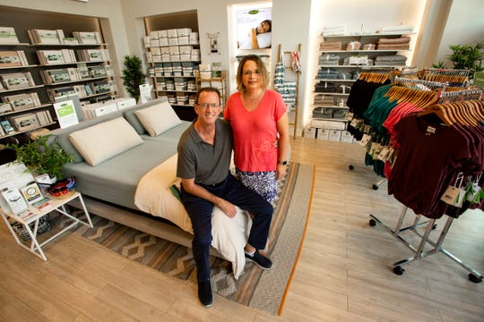 Cariloha Bamboo owners Jeff and Robin Snell pose for a portrait, Tuesday, Nov. 12, 2019, at their shop located at the Mercato shopping center in North Naples.