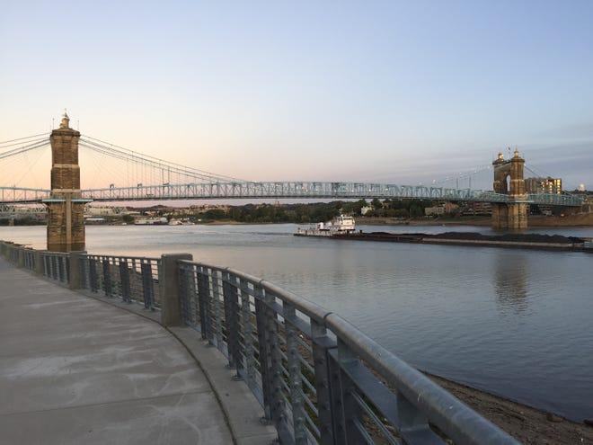 A barge ships coal up the Ohio River near Cincinnati.