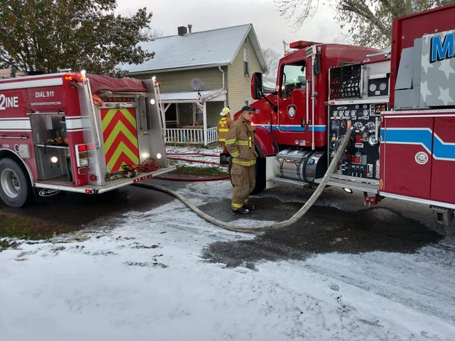 Multiple departments, including Madison Township, responded to the scene of a fire in St. Louisville on Tuesday.