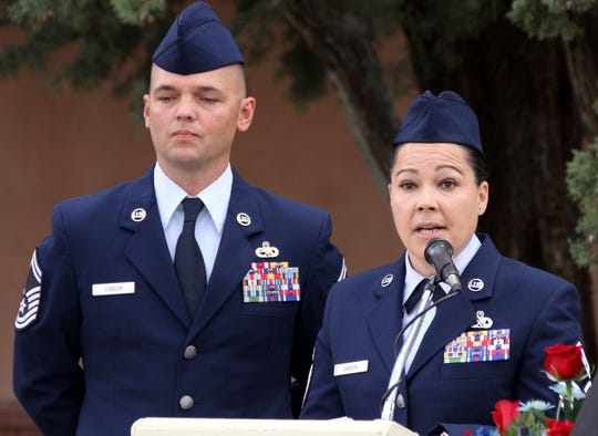 U.S. Air Force Sr. Master Sgts. Mark and Abbi Cabeen gave the keynote address during Monday's Veterans Day ceremony.