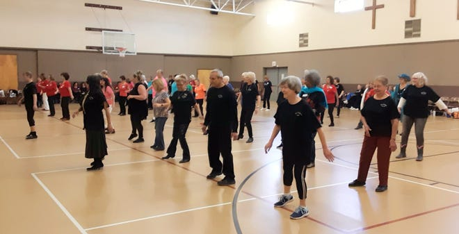 Over 88 line dancers from southern New Mexico and West Texas filled the gymnasium at First United Methodist Church for a Zia Zingers Jamboree.