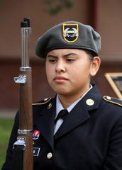 Deming High School Army JROTC Wildcat Battalion served as color guard at Veterans Park.