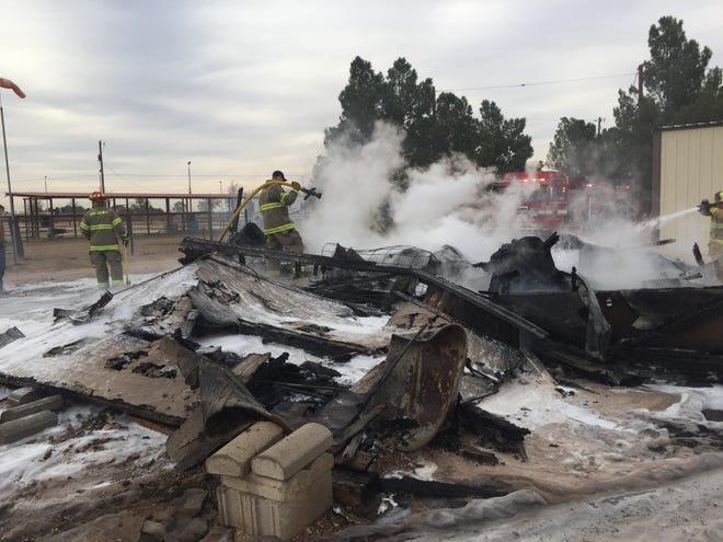 A fire consumed a structure near Grandi and Derrick Roads on Nov. 13.