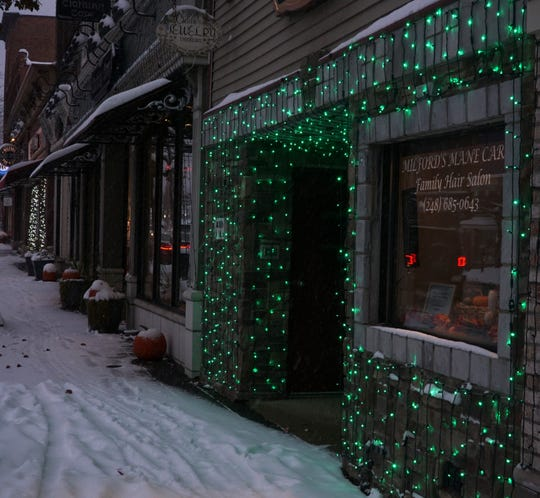 Milford's Mane Care lit up for the holidays.
