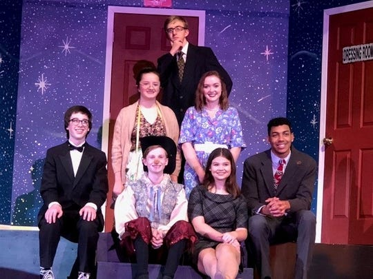The cast includes (from left, sitting) Malachi Blades, Nick Smathers, Cassidy Lynn, Walter Alexander; (second row) Olivia Patanis and Marina McMahon and (back) Cooper Schultz.
