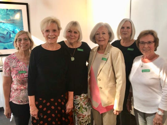"Garden club members Matilda Jones, membership; Diana ""DD"" Evans, president; Denise Hoetker, vice president; Ellen Nevins, corresponding secretary; Kathy Scott, recording secretary; and Jeanette Berry, treasurer, gather for a photo."