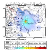 A shake map from the U.S. Geological Survey shows the intensity of a 4.0 magnitude earthquake that struck less than a mile east north east of El Centro California on Monday.
