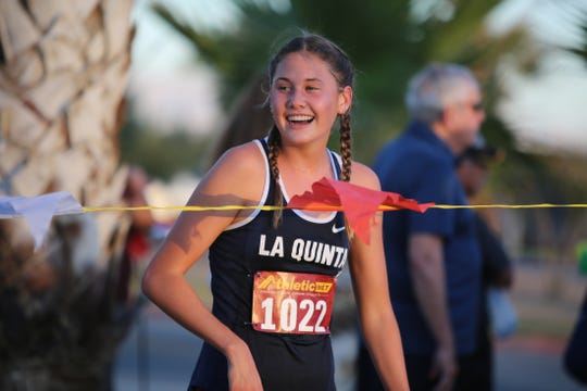 La Quinta's Akemi Von Scherr wins the DEL cross country finals at Xavier College Prep in Palm Desert, Calif., on November 6, 2019.