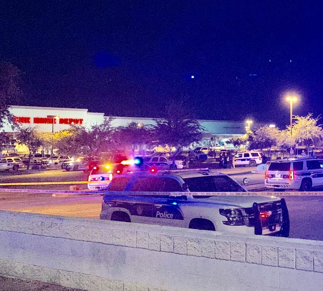 Phoenix police were at the scene of a shooting involving an officer on Nov. 11, 2019, near 43rd Avenue and Camelback Road.
