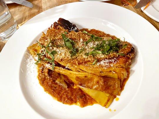 100 layer lasagna with egg pasta, tomato marinara and pecorino at New Wave in Scottsdale.