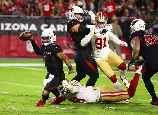 Can quarterback Kyler Murray (1) and the Arizona Cardinals defeat the San Francisco 49ers in Week 11 of the NFL?